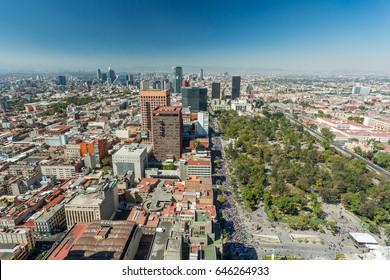 Mexico City skyline aerial view
