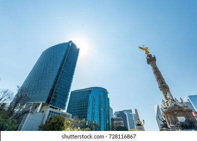 Mexico City skyscrapers and angel of independence