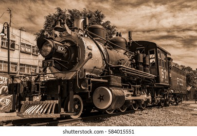 Mexico, Mexico City-16 february 2017:old Mexican train (locomotives) beginning of the twentieth century, the front of the locomotive,aged effect,duotones
