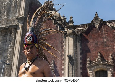 mexico, mexico city-21 January 2017: Indian Aztec dance in the Zocalo of Mexico City to the rhythm of the drum, Portrait of Indian warrior