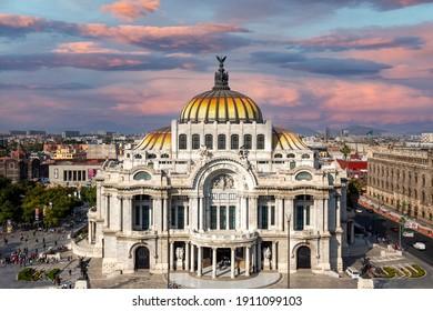Mexico, Mexico City-3 February, 2020: Landmark Palace of Fine Arts (Palacio de Bellas Artes) in Alameda Central Park near Mexico City Zocalo Historic Center.