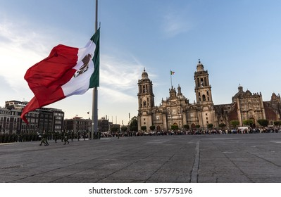 Mexico, Mexico City-8 February  2017: Parade of soldiers with the flag over his shoulders, backgroung Cathedral