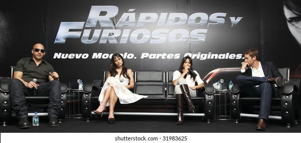 MEXICO CITY-MARCH 27: (L-R) Fast & Furious actors Vin Diesel, Jordana Brewster, Michelle Rodriguez &  Paul Walker attends 'Fast & Furious' press conference on March 27, 2009 in Mexico City.