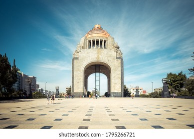 Mexico City/Mexico - 12/22/2019: Monumento a la Revolución, one of the most famous monuments in Colonia Tabacalera.