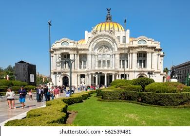 MEXICO CITY,MEXICO - DECEMBER 28,2016 : The Palacio de Bellas Artes or Palace of Fine Arts, a famous concert venue, museum and theater in Mexico City