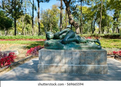 MEXICO CITY,MEXICO - DECEMBER 28,2016 : Statue of a nude young woman at the famous Alameda Central Park in the historic center of Mexico City