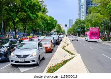 MEXICO CITY,MEXICO - JULY 11,2018 : Traffic at Paseo de la Reforma in Mexico City