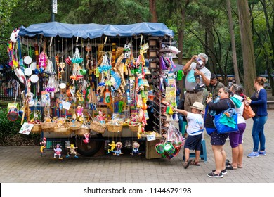 MEXICO CITY,MEXICO - JULY 11,2018 : Typical mexican handicraft for sale at the Chapultepec Park market in Mexico City
