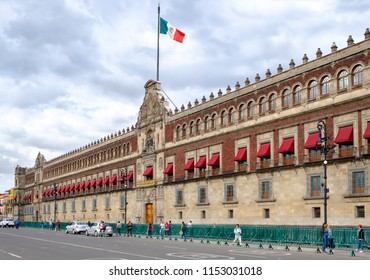 MEXICO CITY,MEXICO - JULY 12,2018 : The National Palace next to the Zocalo Square in Mexico City