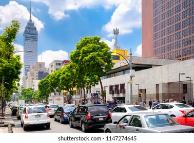 MEXICO CITY,MEXICO - JULY 12,2018 : Urban scene in Mexico City with a view of the Latin-American Tower