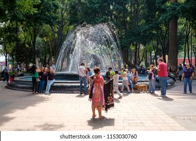 MEXICO CITY,MEXICO - JULY 13,2018 : Jardin Hidalgo, a beautiful park at the historic neighborhood of Coyoacan