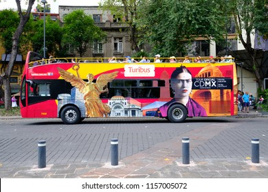 MEXICO CITY,MEXICO - JULY 17,2018 : Touristic hop on-hop off bus in Mexico City