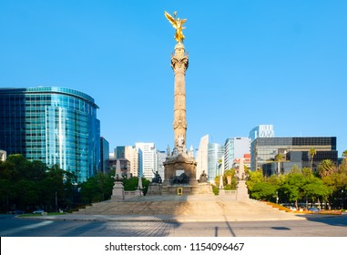 MEXICO CITY,MEXICO - JULY 18,2018 : The Angel of Independence at Paseo de la Reforma, a worldwide known symbol of Mexico City