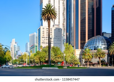 MEXICO CITY,MEXICO - JULY 18,2018 : The Stock Exchange and a view of Paseo de la Reforma in Mexico City