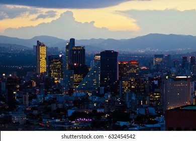 MEXICO CITY,MEXICO-SEPTEMBER 14,2016: Aerial view of mexico city downtown skyscrappers at sunset time before night.