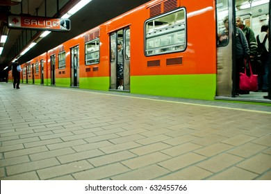 MEXICO CITY,MEXICO-SEPTEMBER 23,2016: Subway train and walk at station on a common on Mexico city,Mexico.