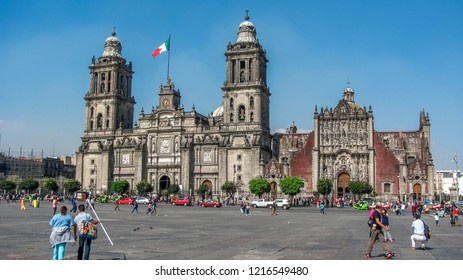 Mexico DF, Mexico - november 21, 2013 : The Cathedral of Our Lady of the Assumption: Gorgeous church in the middle of the Zocalo, mexico city, Mexico