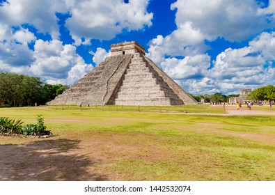 Chichén Itzá, Mexico - February 08 2019: important Mayan archaeological complex located in Mexico, in the north of the Yucatán peninsula.