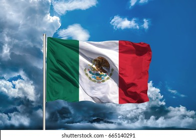 Mexico flag with sky background