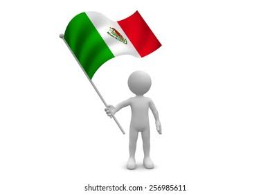 Mexico Flag waving isolated on white background