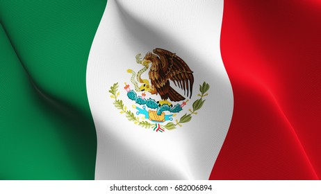 Mexico flag waving on wind.