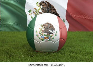 Mexico football team ball on big stadium background. Mexico Team competition concept. Mexico flag on ball team tournament in Mexico. Sport competition on green grass background. 3d rendering