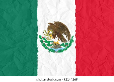 mexico grunge flag on wrinkled paper background