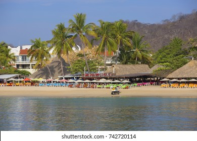 Mexico. Huatulco. Beach.   Bay Huatulco is a picturesque Paradise with amazing mountains, slopes, valleys and luxuriant vegetation, beautiful beaches.