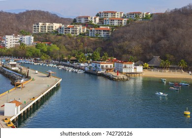 Mexico. Huatulco. Beach. Port.  Bay Huatulco is a picturesque Paradise with amazing mountains, slopes, valleys and luxuriant vegetation, beautiful beaches.