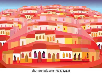 Mexico Illustration of Colorful Urban Houses on Hills in Folk Art Style