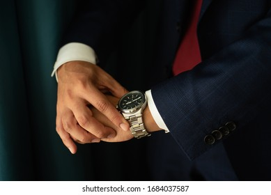 Mexico - Jan 2019 A watch is a portable timepiece intended to be carried or worn by a person A wristwatch is designed to be worn around the wrist, attached by a watch strap or other type of bracelet.
