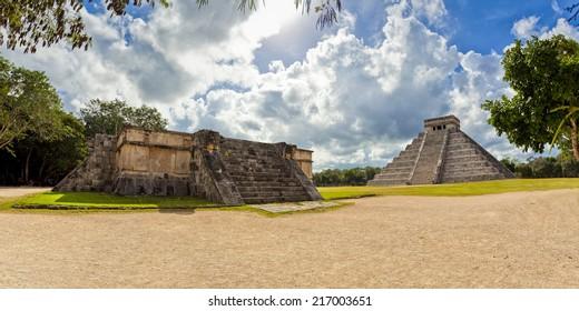 Mexico - Kukulcan pyramid with Venus Platform - Maya Pyriamid El Castillo in Chichen Itza