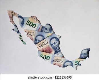 mexico map formed with mexican banknotes of 500 pesos and white background