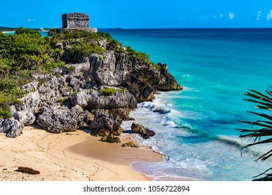 Mexico. The Mayan city of Tulum. Beach - birthplace of sea turtles and Temple of the God of Wind