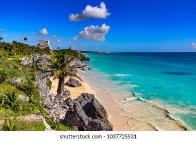 Mexico. The Mayan city of Tulum. There is the Castle (on left) and Temple of the God of Wind in the background