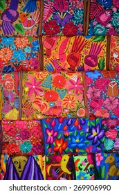 """Mexico, Merida - March 26th, 2014: """"Oaxaca in Merida"""" - Food and Handcrafts Event. Traditional handmade mexican fabric"""