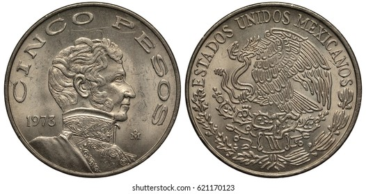 Mexico Mexican coin 5 five pesos 1973, bust of Vicente Guerrero right, eagle on cactus catching snake,