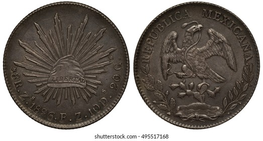 Mexico Mexican coin eight reales 1896, Phrygian cap with rays, eagle on cactus catching snake, silver,