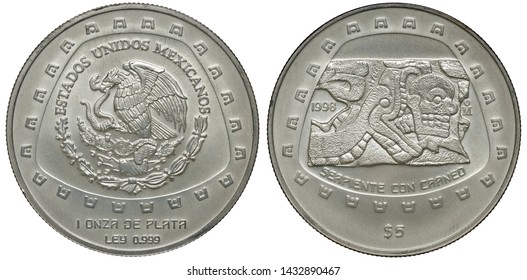 Mexico Mexican silver coin 5 five pesos 1998, subject Pre-Columbian Tolteca Series, eagle on cactus with snake in beak, Indian stone carving – Serpent with skull,