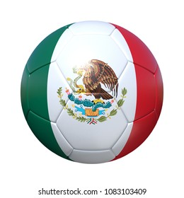 Mexico Mexican soccer ball with national flag. Isolated on white background. 3D Rendering, Illustration.