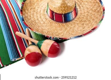 Mexico, Mexican sombrero, maracas isolated