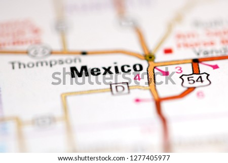 Mexico Missouri Usa On Geography Map Stock Photo Edit Now