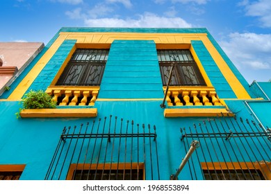 Mexico, Monterrey, colorful historic buildings in the center of the old city, Barrio Antiguo, a famous tourist attraction.