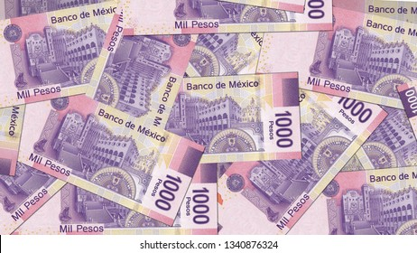 Mexico MXN banknote as background wallpaper using 1000 Peso one thousand Pesos