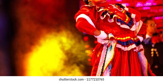 Mexico national costume. Girl dancer in folklore  show