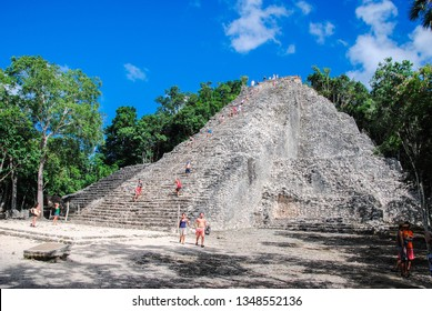 Mexico, November 26th, 2010. Ancient mayan city of Coba, in Mexico. Coba is an archaeological area and a famous landmark of Yucatan Peninsula.