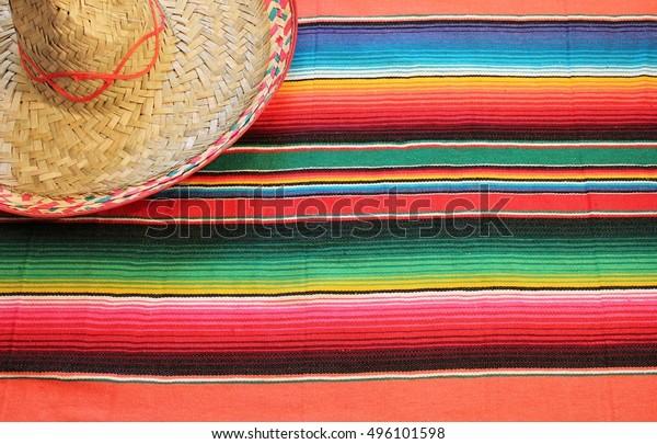 Mexico Poncho Serape Sombrero Traditional Mexican Stock