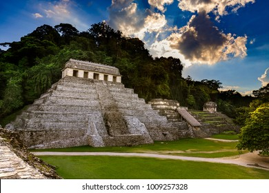 Mexico. Pre-Hispanic City and National Park of Palenque (UNESCO World Heritage Site). The Temple of the Inscription