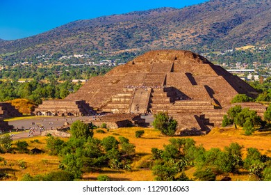 Mexico. Pre-Hispanic City of Teotihuacan. The Pyramid of the Moon and Plaza