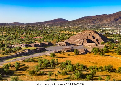Mexico. Pre-Hispanic City of Teotihuacan (UNESCO World Heritage Site). The Pyramid of the Moon and fragment of the Avenue of the Dead